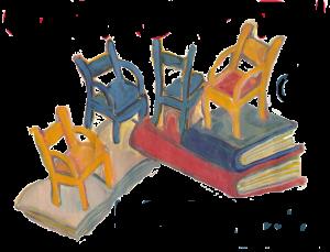 Quattro sedie posate su libri giganti, disegno
