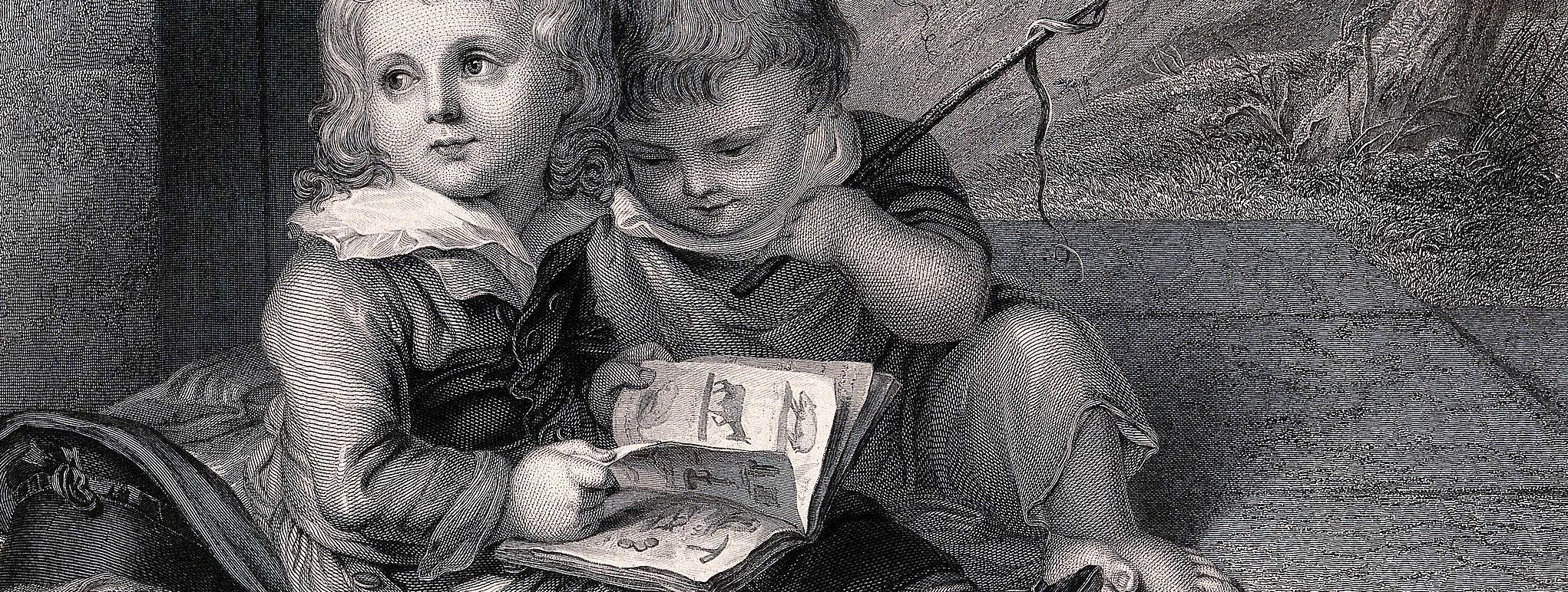 Due bambini, seduti per terra, leggono un libro illustrato sugli animali, xilografia